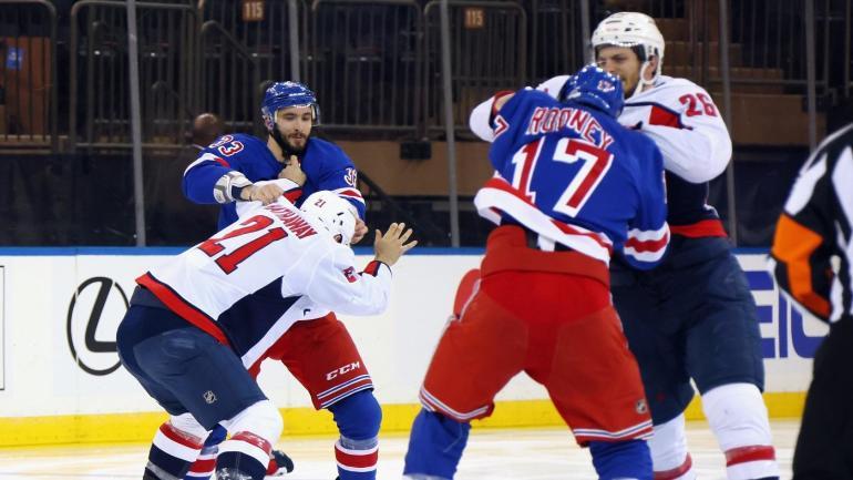 New York Rangers Washington Capitals Fight Line Brawl